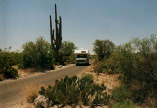 De camper in Saguaro Parc