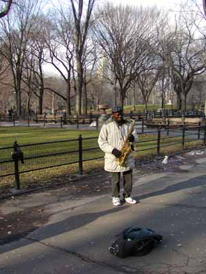 Saxofoonspeler in Central Park