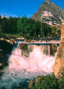 Waterval in Glacier NP in Montana