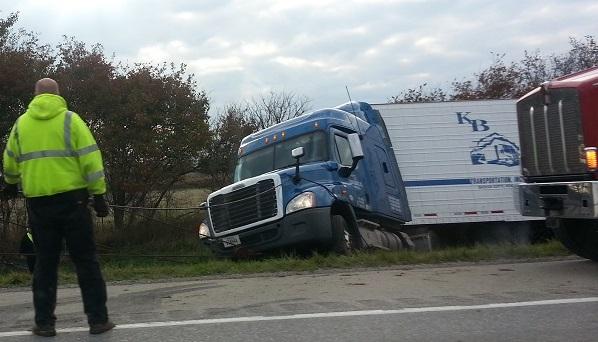 Ongeluk met vrachtwagen op een Amerikaanse highway