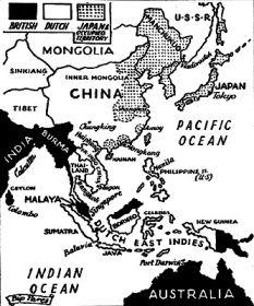 Kaart van Oost-Azië voor Pearl Harbor, in 1941
