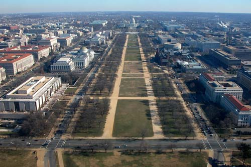 Blik op de Mall vanaf het Washington Monument