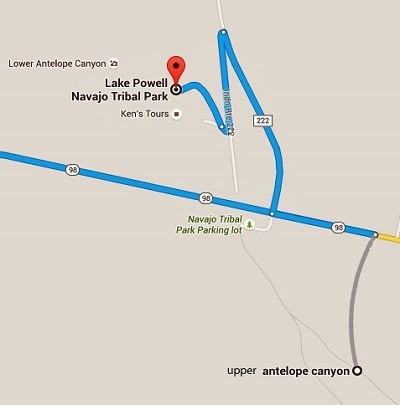 Kaart Antelope Canyon