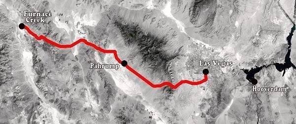 Death Valley naar Las Vegas