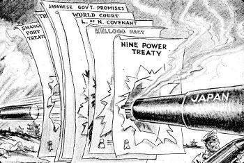 Persiflage op de verdragen die Japan schond voor de aanval op Pearl Harbor