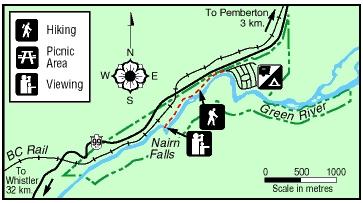 Kaart van de Nairn Falls-wandeling