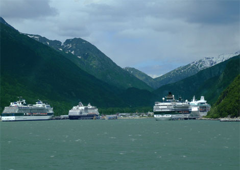 Cruiseschepen in de haven van Skagway